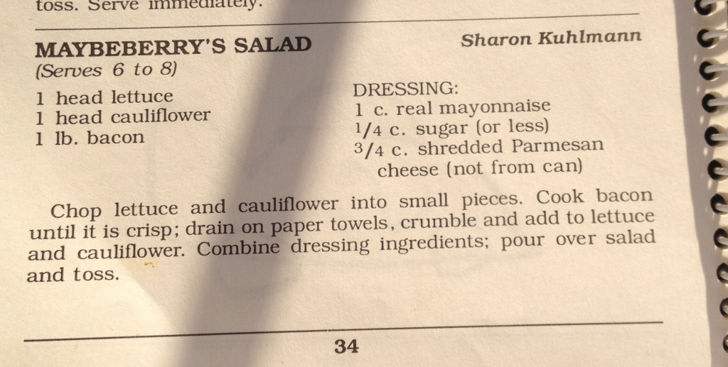 "Church Cookbook ""BLT"" Salad recipe"