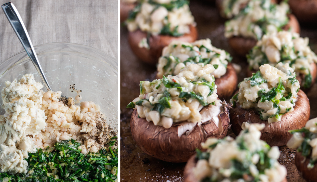 White bean and blue cheese stuffed mushrooms - perfect #glutenfree holiday app | recipe at Natural Comfort Kitchen