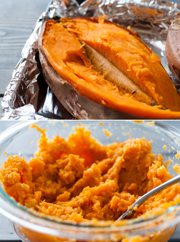 Roasted and mashed sweet potatoes for fluffy dinner rolls