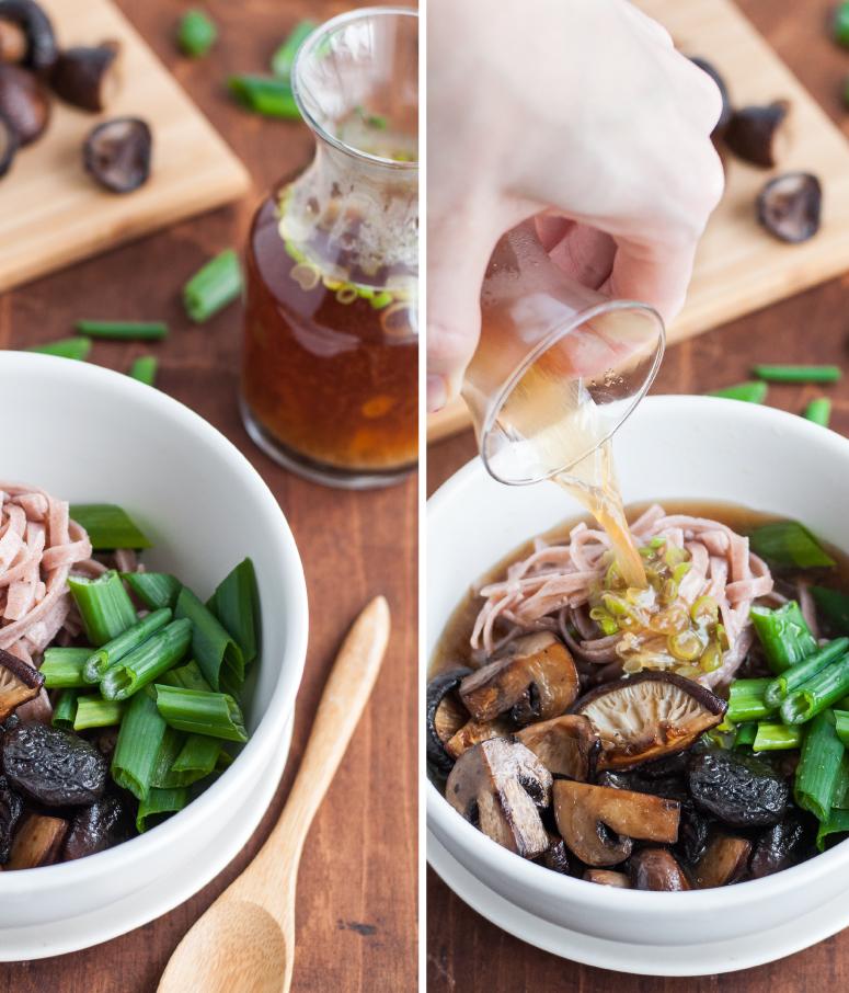 Building a bowl of mushroom noodle soup