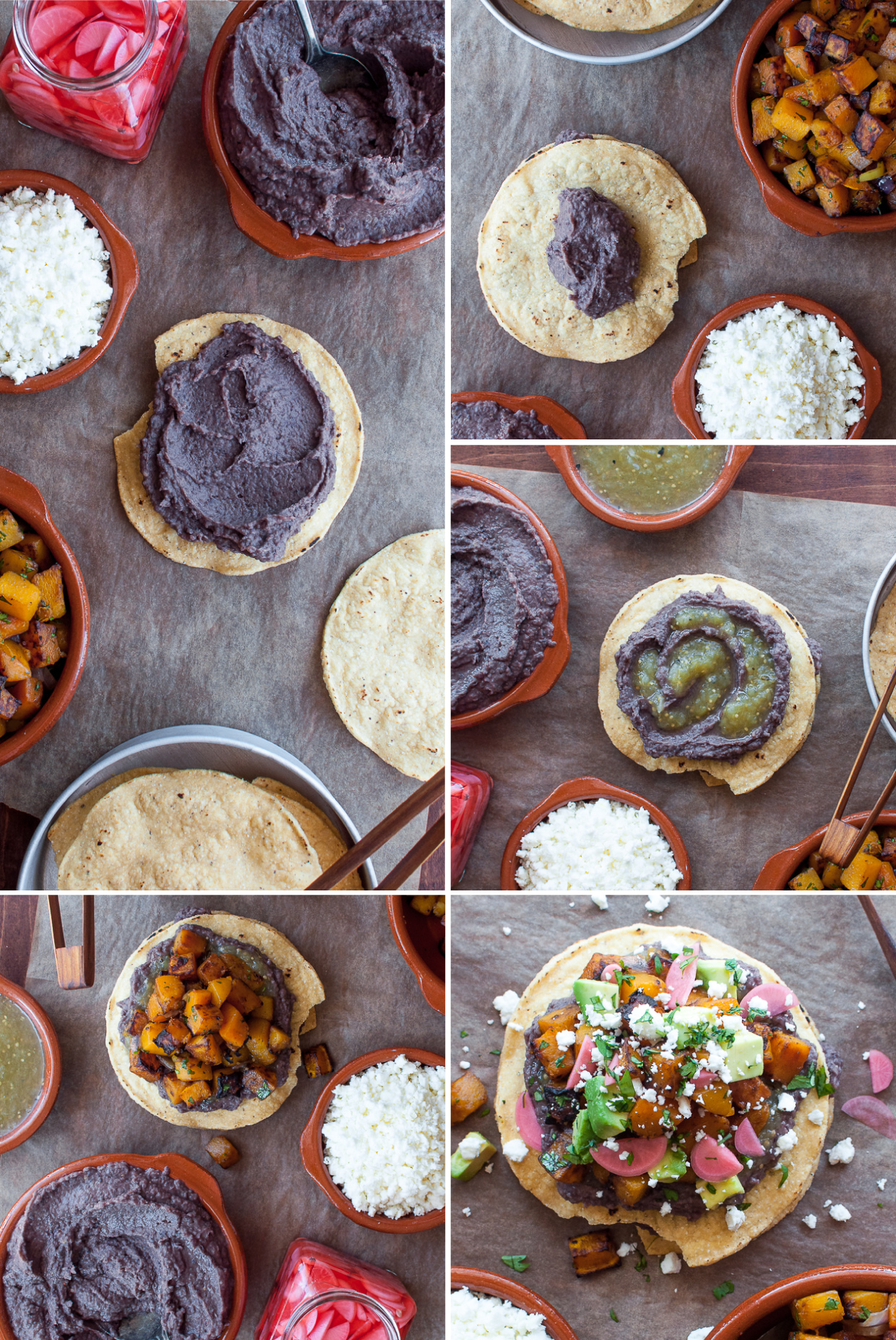 weeknight friendly vegetarian tostadas with the quickest black bean spread!