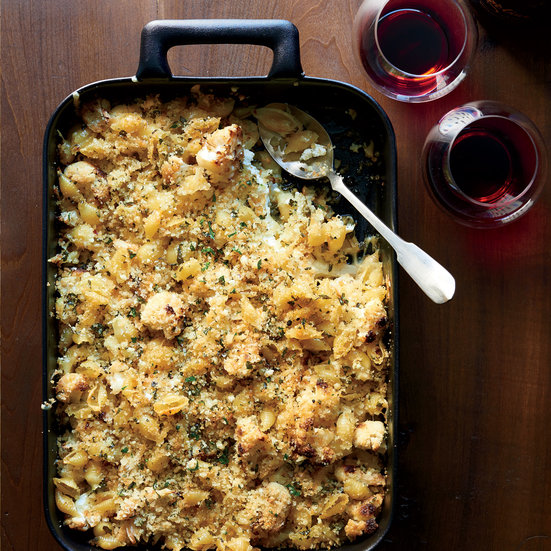Ina Garten's crusty baked shells and cauliflower