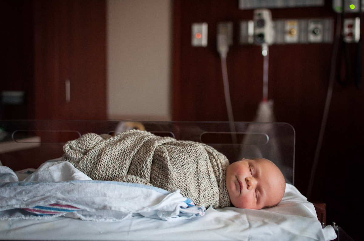 Hospital Newborn Photo with Hand Knitted Blanket